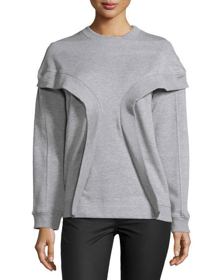Long-Sleeve Rib-Inset Pullover, Melange Gray