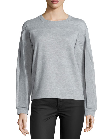 Twisted-Seam Long-Sleeve Pullover, Melange Gray