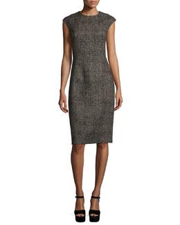 Cap-Sleeve Jewel-Neck Sheath Dress, Hemp/Black