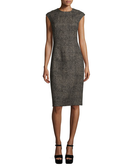 Cap-Sleeve Jewel-Neck Sheath Dress, Hemp/Black