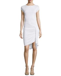 Cap-Sleeve Gathered-Waist Dress, Optic White
