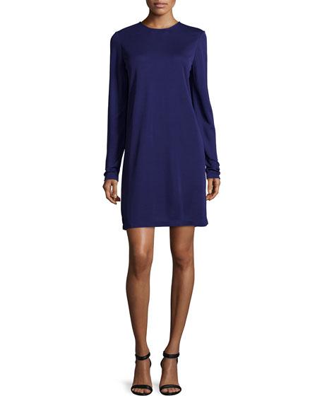 Long-Sleeve Shift Dress, Aubergine