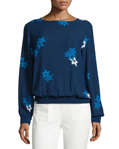 Long-Sleeve Star-Print Blouson Top, Navy