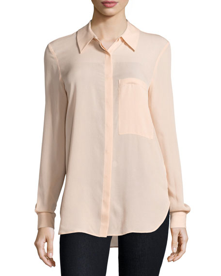 The Husband Button-Front Shirt, Peach
