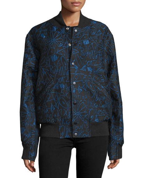 Scribble-Print Varsity Jacket, Classic Blue/Multi