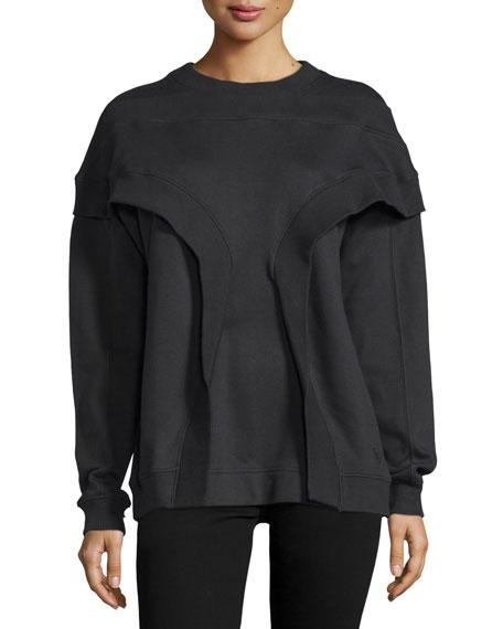 Long-Sleeve Rib-Inset Pullover, Black