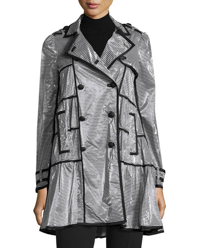 Coated Striped Rain Coat