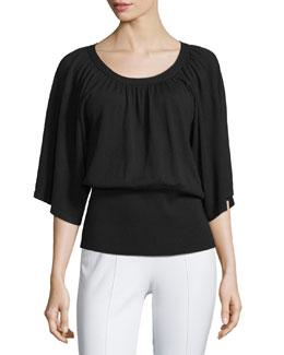 3/4-Sleeve Peasant Sweater, Black