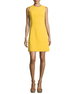 Sleeveless Jewel-Neck Sheath Dress, Daffodil