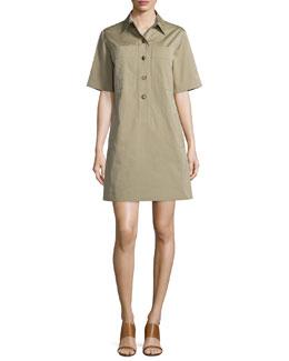 Short-Sleeve Utility Shirtdress, Sand