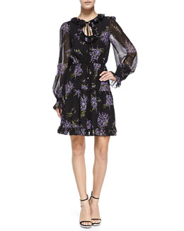 Floral-Print Peasant Dress, Black/Wisteria