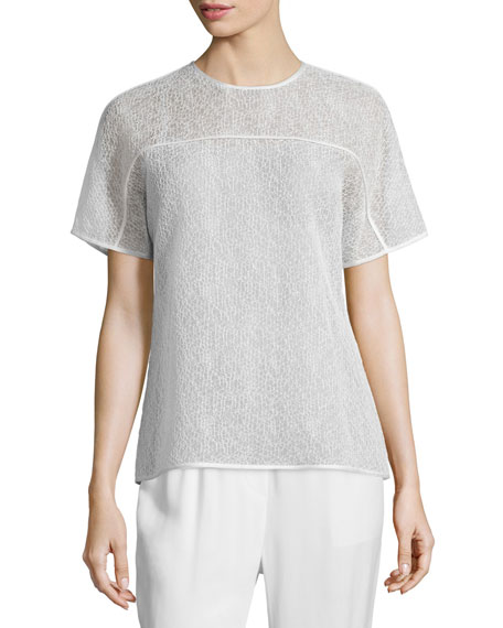 Short-Sleeve Corded-Lace T-Shirt, Chalk