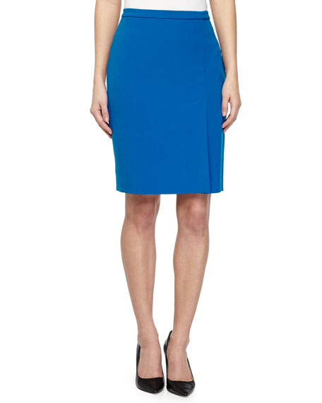Double Faced Pencil Skirt, Sapphire