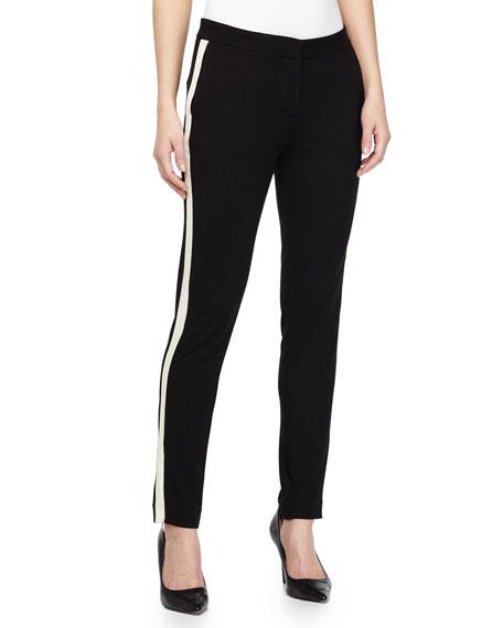 Two-Tone Skinny Pants, Black/Bone