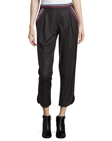 Mid-Rise Striped-Trim Cropped Pants, Black