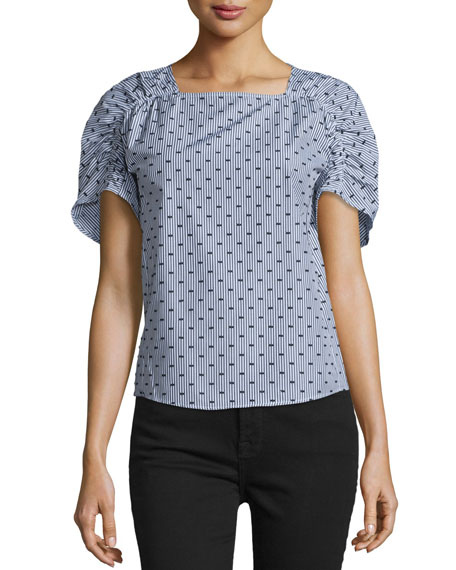 Ruched-Sleeve Skinny-Striped Top, Gray/Multi