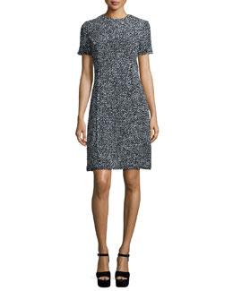 Short-Sleeve Herringbone T-Shirt Dress, Black/White
