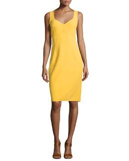 Sleeveless V-Neck Sheath Dress, Daffodil