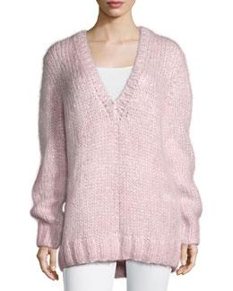 Long-Sleeve V-Neck Sweater, Oleander