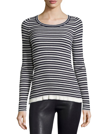 Long-Sleeve Striped Sweater, Navy/White