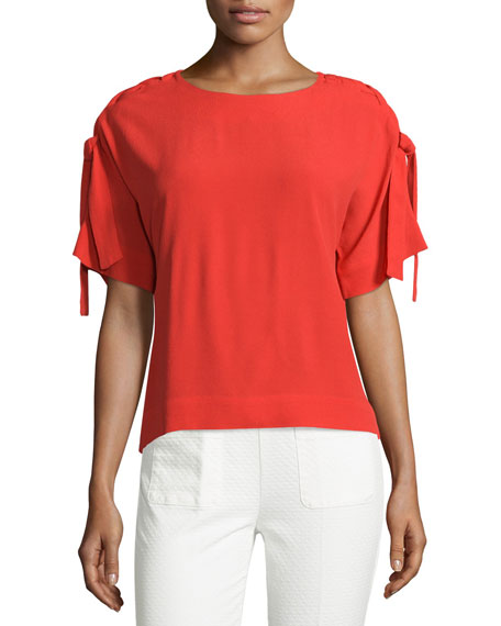 Lace-Up Short-Sleeve Top, Red