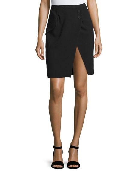 Tuxedo-Stripe Pencil Skirt, Black