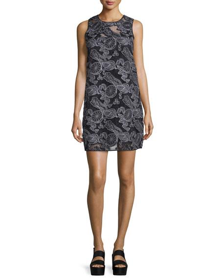 Sleeveless Laser-Cut Shift Dress, Black
