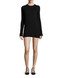 Long-Sleeve Knit Dress W/ Ruffle Trim, Striped