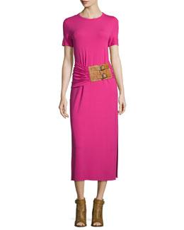Short-Sleeve Ruched-Waist Midi Dress, Geranium