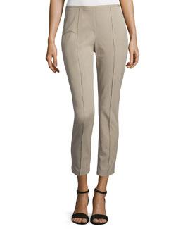 Side-Zip Skinny Cropped Pants, Sand