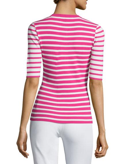Short-Sleeve Mixed-Stripe Henley Tee