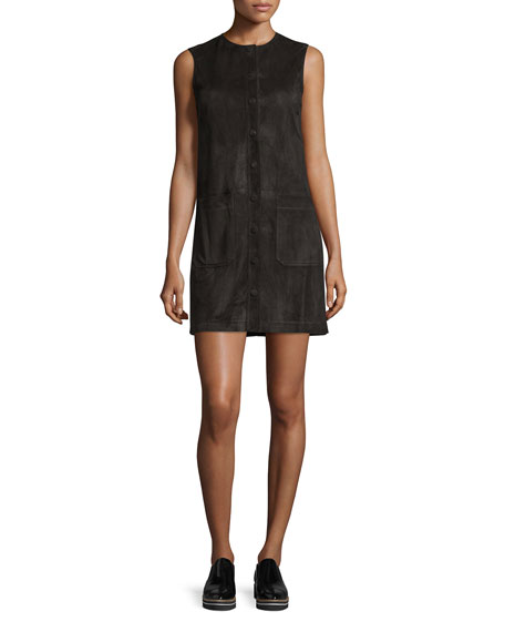 Sleeveless Suede Button-Front Mini Dress, Black