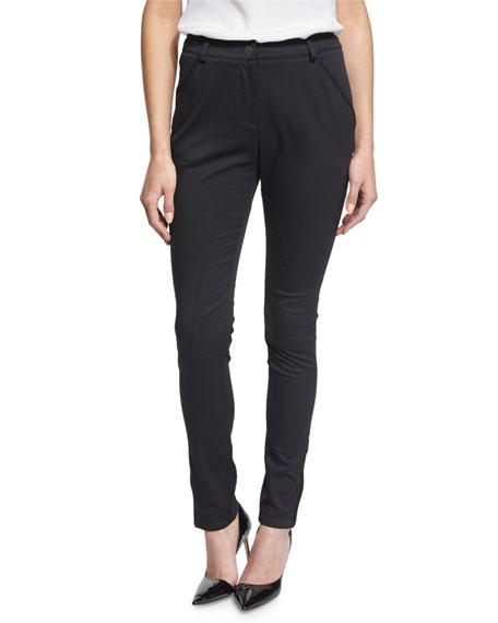 Seamed Zipper-Cuff Slim-Fit Pants, Black