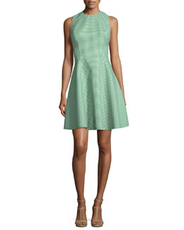 Sleeveless Fit-&-Flare Gingham Dress, Lawn