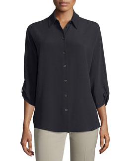 3/4-Sleeve Button-Front Blouse, Black