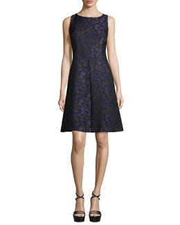 Sleeveless Floral-Print A-Line Dress, Black/Leaf/Oleander