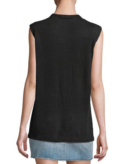 Tissa Slub Linen Lace-Up Top, Black