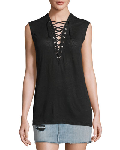 Tissa Slub Linen Lace-Up Top, Black