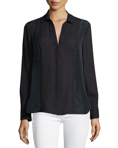 Long-Sleeve Slim-Fit Shirt, Black