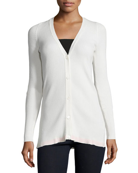V-Neck Button-Front Cardigan, Ivory