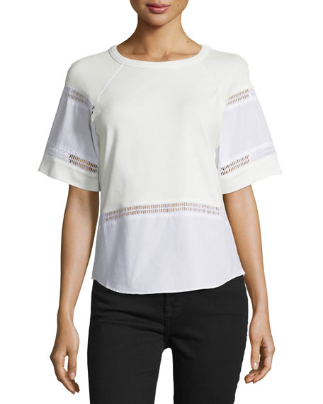 Short-Sleeve Pointelle-Trim Top, White