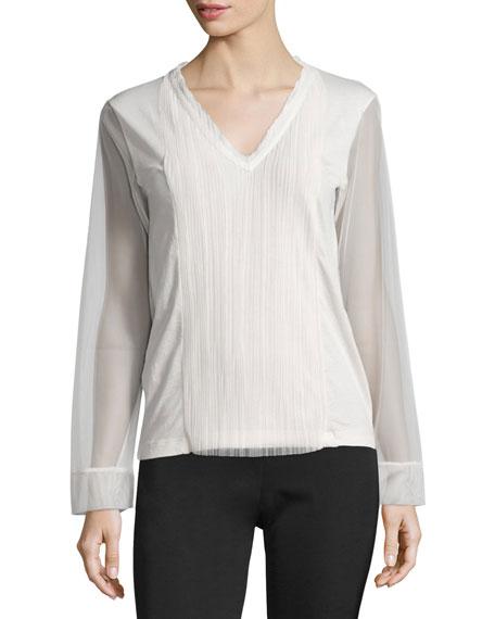 Sheer-Sleeve V-Neck Top, Ivory