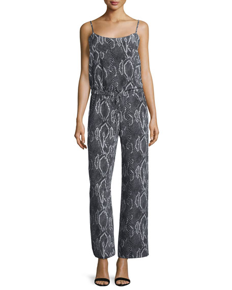 Sleeveless Snake-Print Tie-Back Jumpsuit, Black/Swan