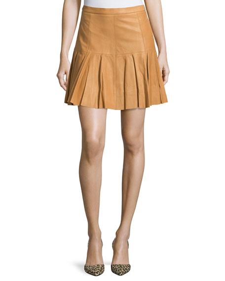 Pleated-Hem Leather Skirt, Rust
