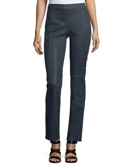 Mid-Rise Boot-Cut Leather Pants, Ebony