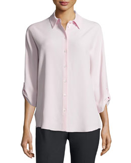 3/4-Sleeve Button-Front Blouse, Blush