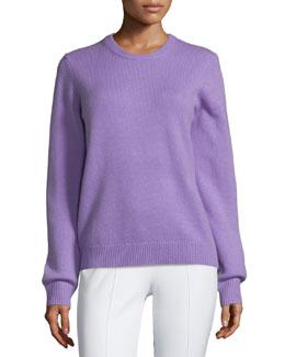 Jewel-Neck Cashmere Sweater, Wisteria Melange