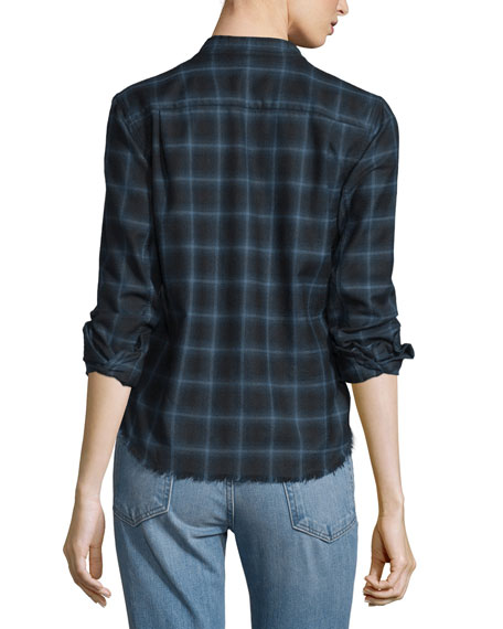 Shrunken Plaid Pullover Shirt, Navy