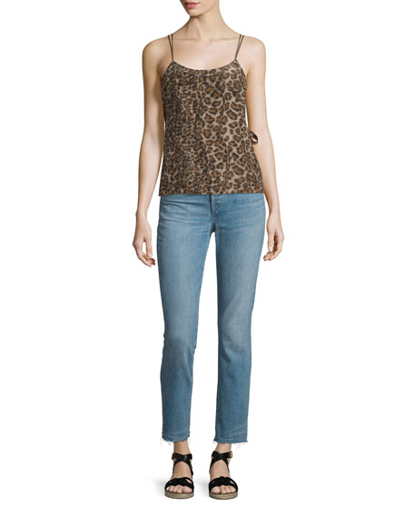 Silk Leopard Overlay Top, Mortar