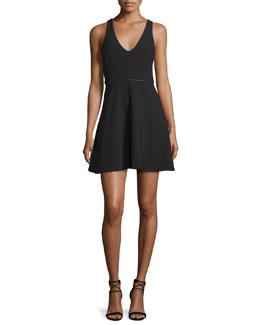 Sleeveless Embellished Fit-&-Flare Dress, Black